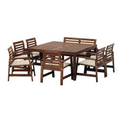 ÄPPLARÖ Mesa+6 sillas rpsbrzs+banco, ext