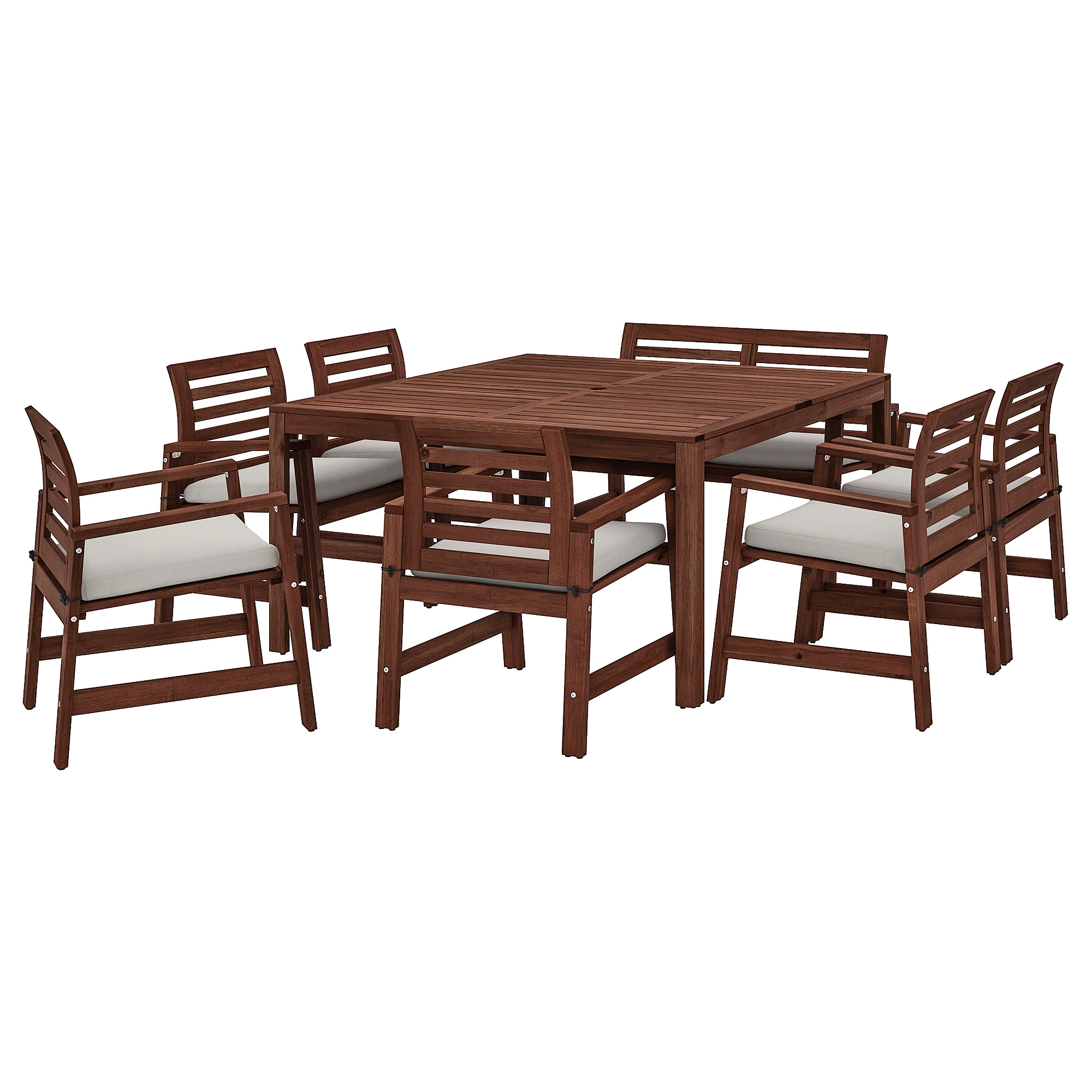 APPLARO Table 6 Chairs Armr Bench Outdoor