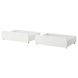 2 x MALM Cajón de cama blanco, 2 unds.