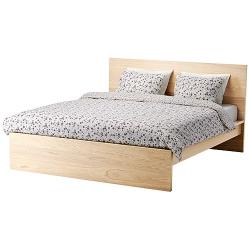 1 x MALM Estructura de cama 160 roble-tinte blanco
