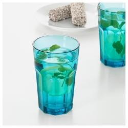POKAL Vaso de vidrio templado con relieve azul, 35cl