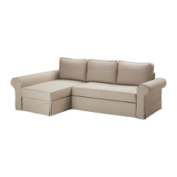BACKABRO Sofá cama 3 plazas con diván, TYGELSJÖ beige