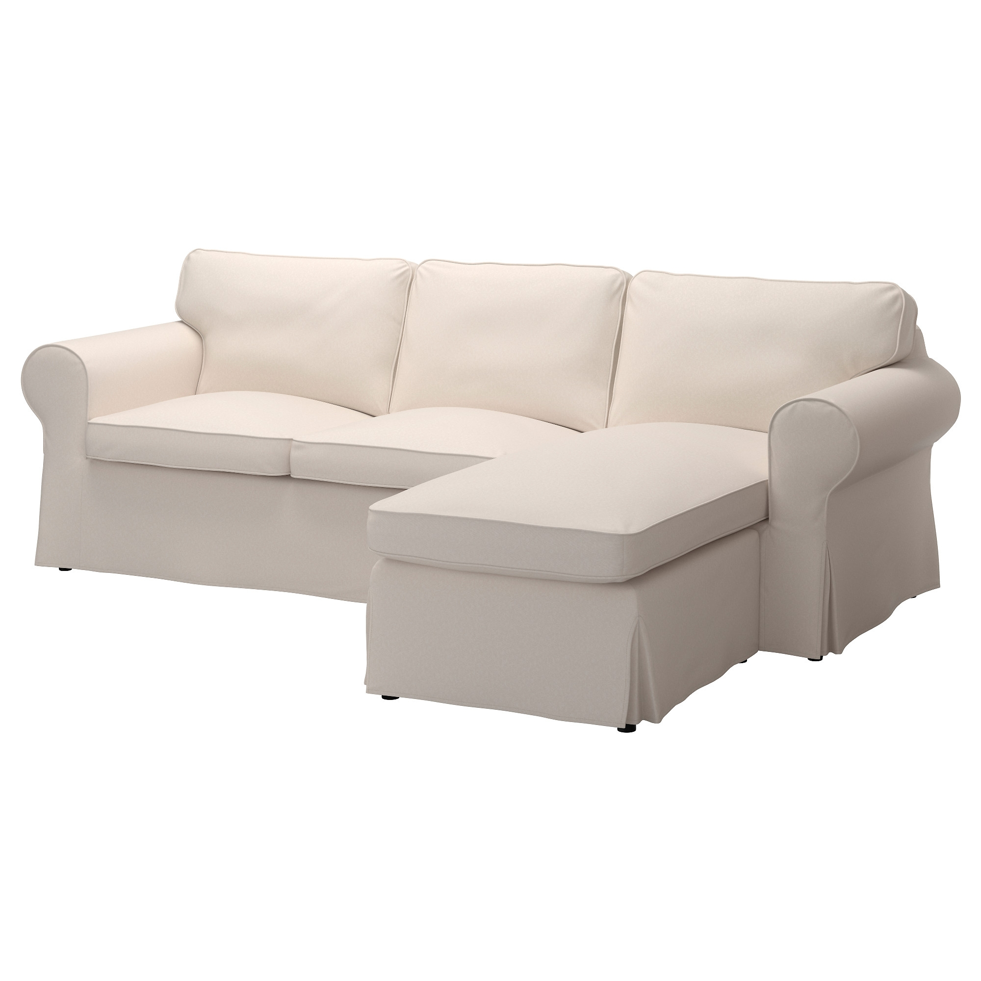 Ektorp Three Seat Sofa With Chaise Longue Lofallet Beige Cover