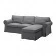 EKTORP Sofá 3 plazas con diván, NORDVALLA gris oscuro
