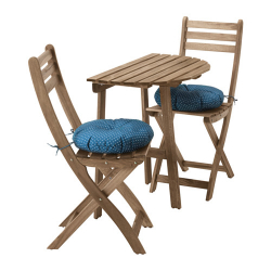 ASKHOLMEN Mesa pared+2 sillas plegables, ext
