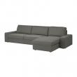 KIVIK Sofá 4 plazas con diván, BORRED verde grisáceo