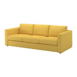 VIMLE Sofá 3 plazas, ORRSTA dorado