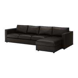 VIMLE Sofá 4 plazas con diván, FARSTA negro