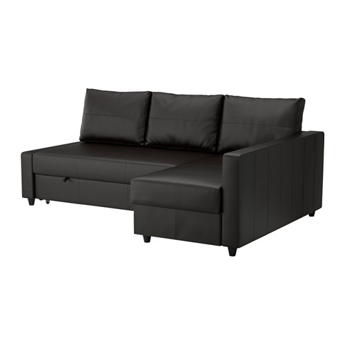 FRIHETEN corner sofa-bed with chaise longue, BOMSTAD black