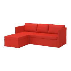 BRÅTHULT Sofá cama 3 plazas, VISSLE rojo-naranja