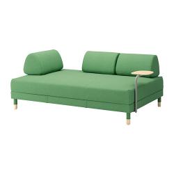 FLOTTEBO Sofá cama 3 pl con mesa auxiliar, LYSED verde