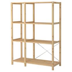 IVAR Estantería 134x50x179 cm dos secciones con cuatro estantes