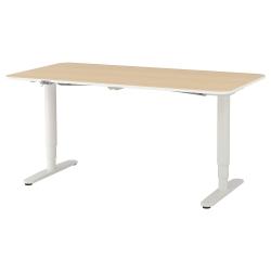 BEKANT Escritorio profesional 160x80 cm sentado/de pie roble/blanco
