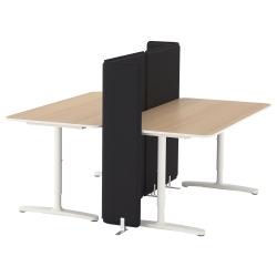 BEKANT Combinación escritorio oficina 2 puestos con separador roble/blanco