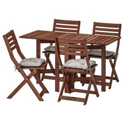 ÄPPLARÖ Mesa+4 sillas plegables, exterior