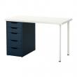 LINNMON/ALEX Mesa de escritorio 120x60 cm con cajonera blanco/azul