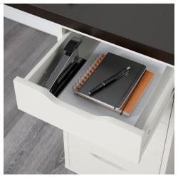 LINNMON/ALEX Mesa de escritorio 200x60 cm con dos cajoneras negro-marrón/blanco