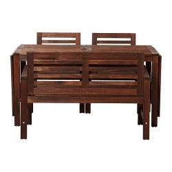 ÄPPLARÖ Mesa, banco y 2 sillas con brazos