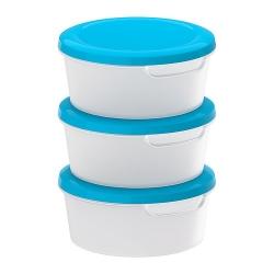 JÄMKA Recipiente plástico con tapa, jgo de 3