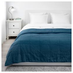 GULVED Colcha para cama doble 260x250 cm azul oscuro