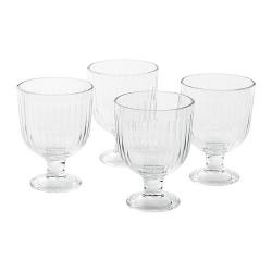 VARDAGEN Juego de 4 copas de vidrio templado con relieve, 28cl