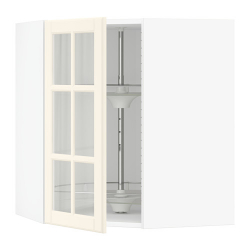 SEKTION Corner wall cab w carousel/glass dr
