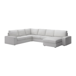 KIVIK Sofá 5 plazas con diván ORRSTA gris claro