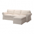 EKTORP Three-seat sofa with chaise longue, LOFALLET beige