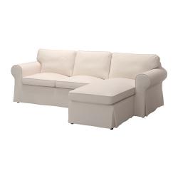 EKTORP Sofá 3 plazas con diván, LOFALLET beige