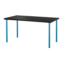 LINNMON/ADILS Mesa de escritorio 150x75 cm negro-marrón/azul