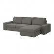 KIVIK Sofá 3 plazas con diván, BORRED verde grisáceo