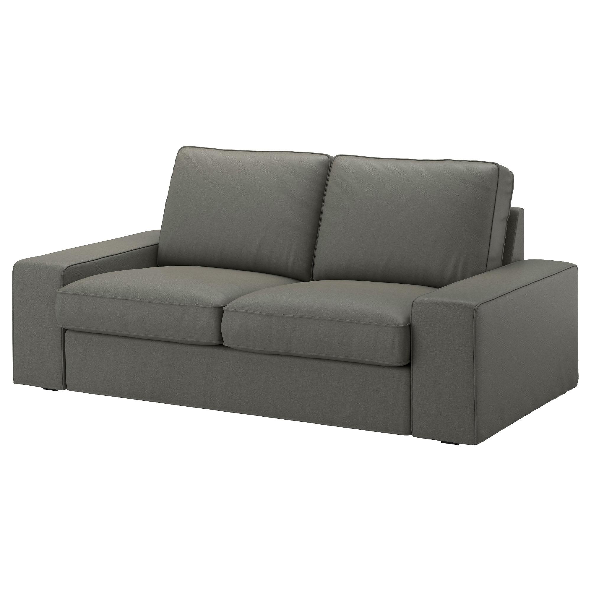 KIVIK sofá 2 plazas con funda BORRED verde grisáceo