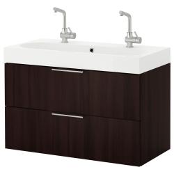 GODMORGON/BRÅVIKEN Armario para lavamanos+2 cajones