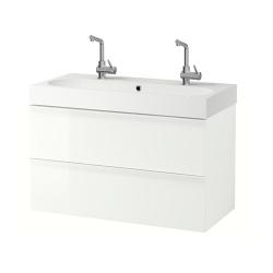 GODMORGON Armario para lavamanos+2 cajones