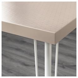 LINNMON/KRILLE Mesa de escritorio 120x60 cm con ruedas geométrico beige/blanco