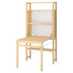 IVAR Estantería 90x30x179 cm cinco estantes y mesa plegable