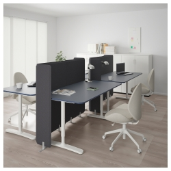 BEKANT Combinación escritorio oficina 4 puestos con separador azul/blanco
