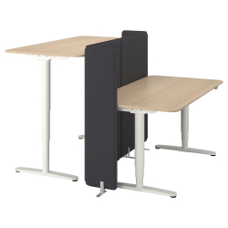 BEKANT Escritorio sentado/parado+pantalla
