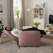 EKOLSUND Sillón relax reclinable rosa claro desenfundable