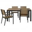 FALSTER Mesa y 4 sillas con reposabrazos