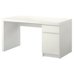 MALM Escritorio 140x65 cm con gaveta y almacenamiento blanco