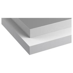 HÄLLESTAD Encimera 2 lados, blanco, efecto aluminio/borde efecto metal