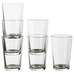 IKEA 365+ Juego de 6 vasos de vidrio templado, 45cl