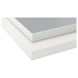 EKBACKEN Encimera 2 lados, gris claro, blanco/borde blanco