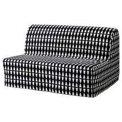 1 x LYCKSELE Funda para sofá cama, EBBARP blanco-negro