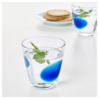 FABULÖS Vaso de vidrio liso con motivo azul, 30cl