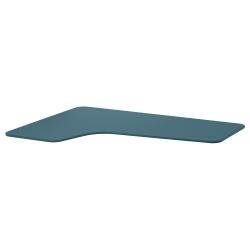 1 x BEKANT Tablero para escritorio 160x110 cm esquina izquierda azul