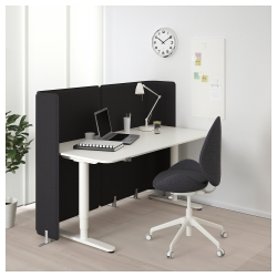 BEKANT Escritorio profesional sentado/de pie 160x80 cm con separador blanco