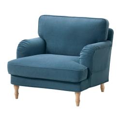 STOCKSUND Sillón Ljungen azul desenfundable con patas de madera en marrón claro
