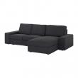 KIVIK Sofá 3 plazas con diván, HILLARED antracita